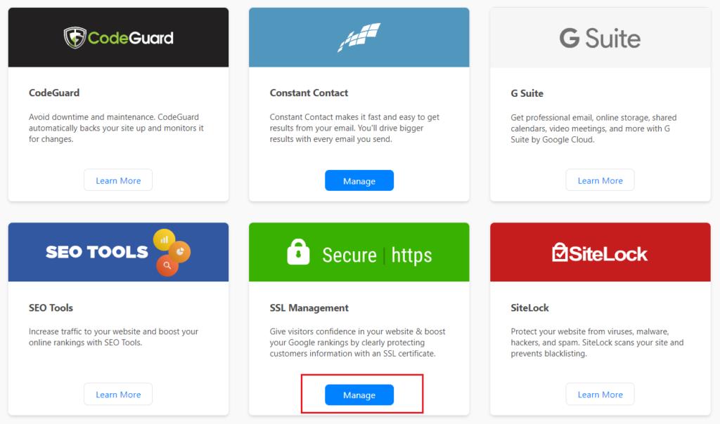 hostgator SSL manage