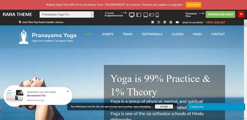 pranayam yoga theme live demo