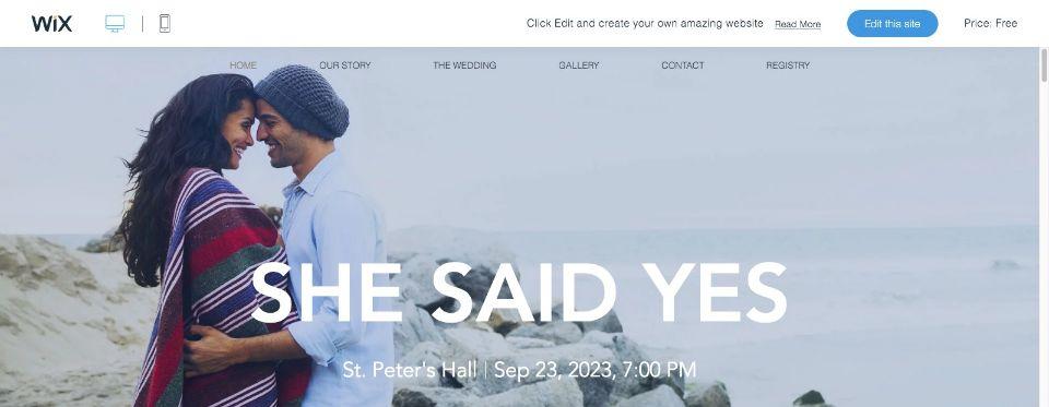 Modern Wedding Invite Website Template WIX